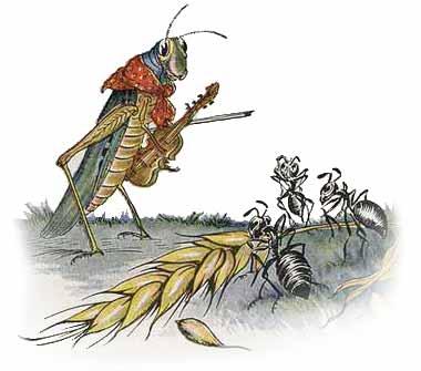 grasshopper - ant - fable - aesops
